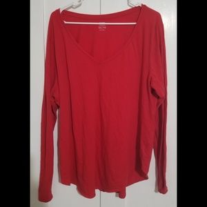 Old Navy XXL Red Long-Sleeved Tee